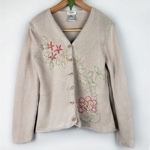 Talbots floral embroidered knit sweater size M